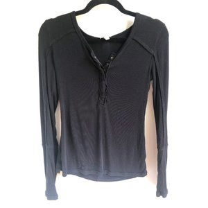 FP | We the Free Black Long Sleeve Henley M